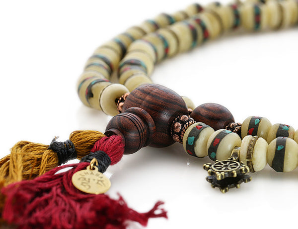 Tibetan Mala Beads with White Inlaid Bone and Kingwood
