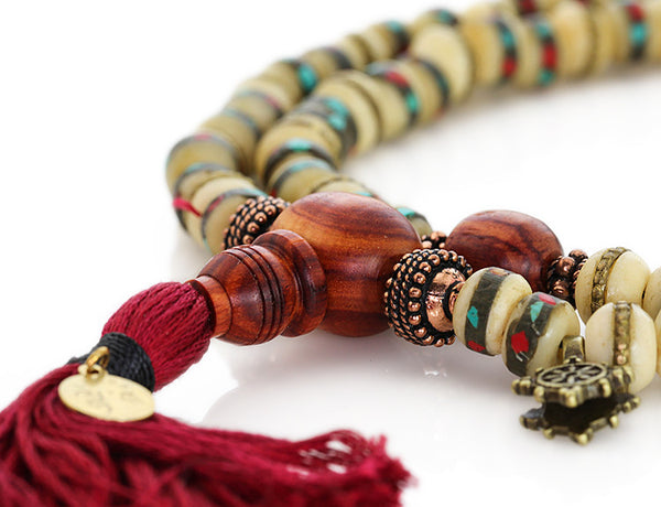 Tibetan Mala Beads with White Inlaid Bone and Tulipwood