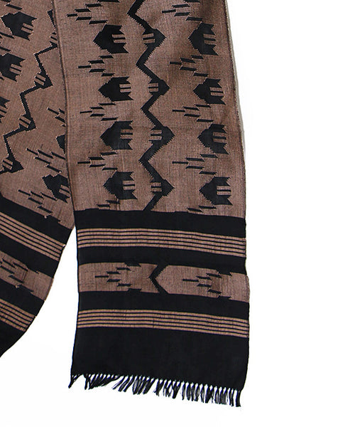 Nepalese Cotton Dhaka Scarf Brown and Black Bottom Section