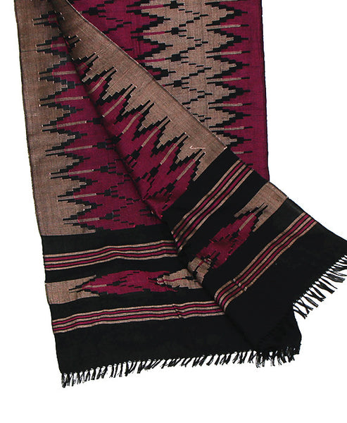 Nepalese Cotton Dhaka Scarf Magenta and Silver Bottom Section Folded