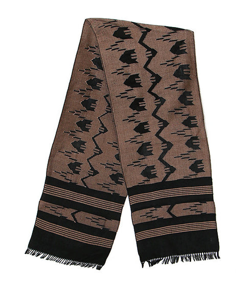 Nepalese Cotton Dhaka Scarf in Brown and Black