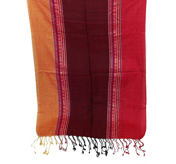 Nepalese Cotton Scarf In Orange Burgundy and Pink