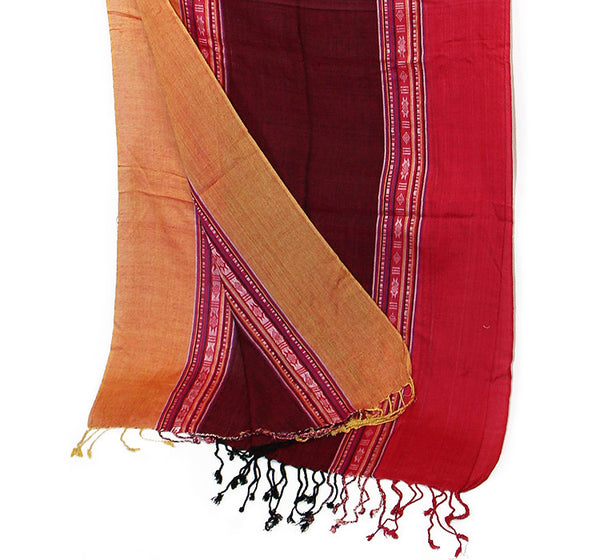 Nepalese Cotton Scarf Orange Burgundy and Pink Bottom