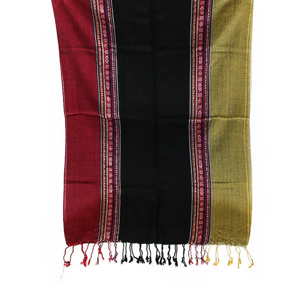 Nepalese Cotton Scarf Red Black and Yellow Bottom