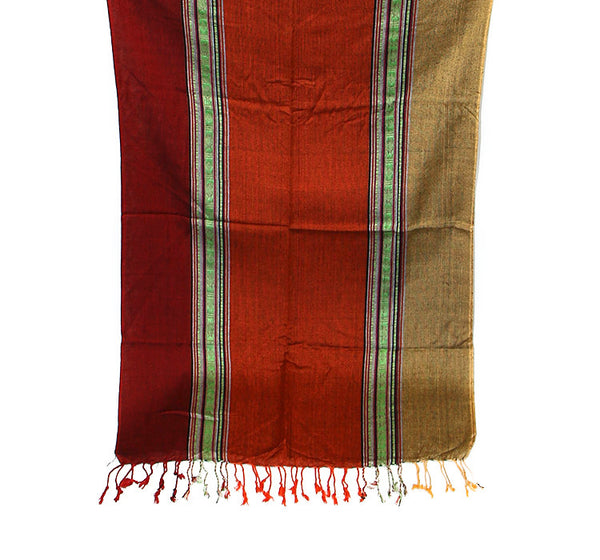 Nepalese Cotton Scarf Red Orange and Yellow Bottom