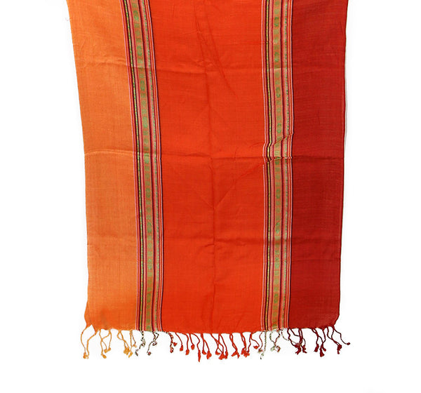 Nepalese Cotton Scarf Salmon Orange and Red Botton