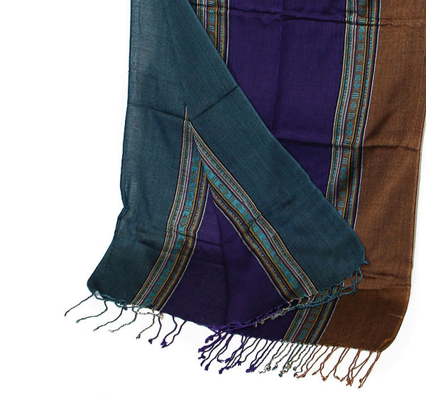 Nepalese Cotton Scarf Teal Purple and Brown Bottom