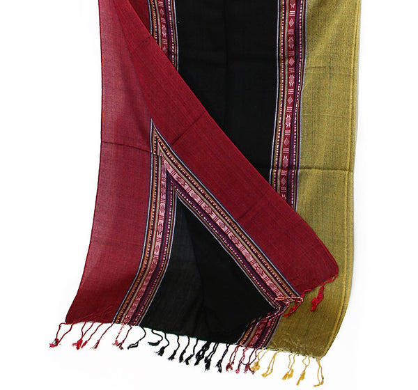 Nepalese Cotton Scarf in Red Black and Yellow