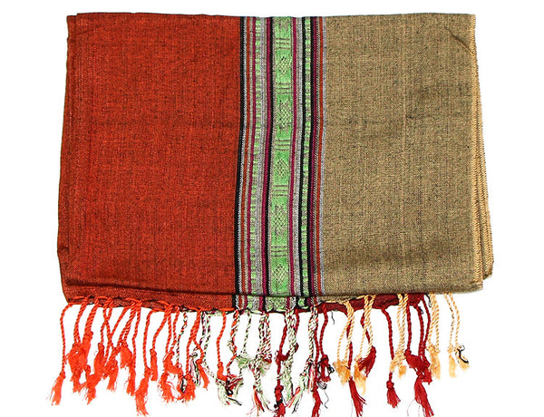 Nepalese Cotton Scarf in Red Orange and Yellow Folded
