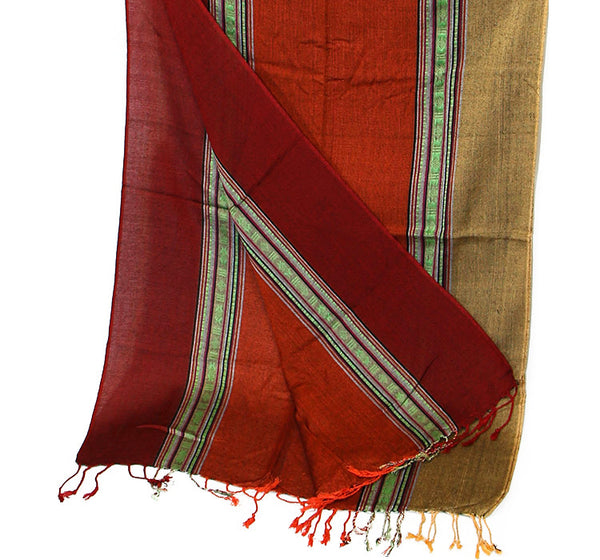 Nepalese Cotton Scarf in Red Orange and Yellow