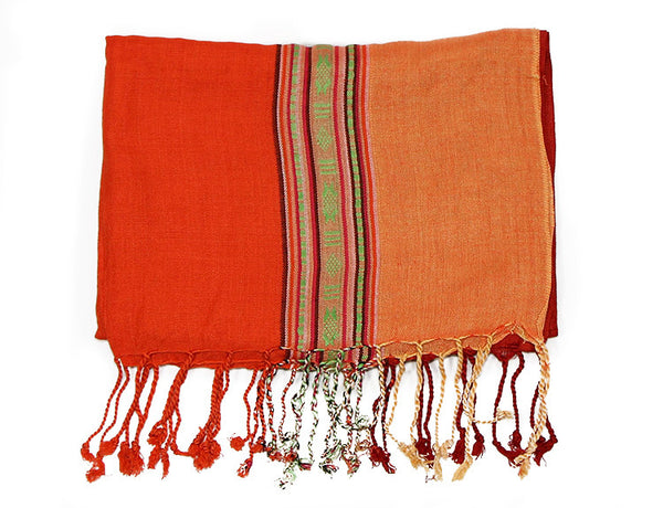 Nepalese Cotton Scarf in Salmon Orange and Red Folded