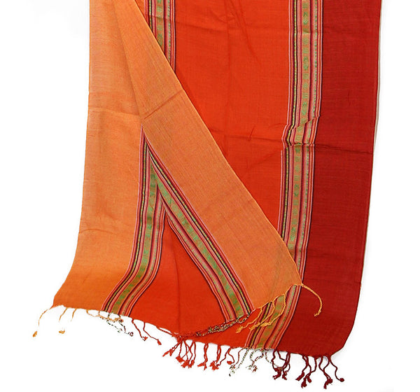 Nepalese Cotton Scarf in Salmon Orange and Red