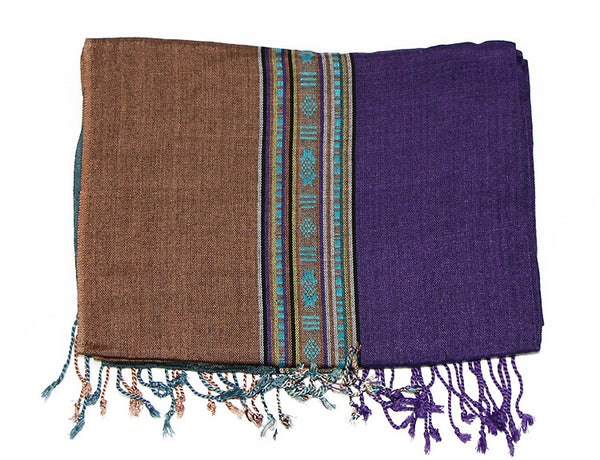 Nepalese Cotton Scarf in Teal Purple and Brown Folded