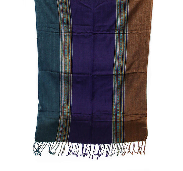 Nepalese Cotton Scarf in Teal Purple and Brown