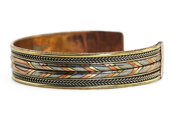 Nepalese Ehtnic Cuff Bracelet Woven Silver and Copper Design Side View