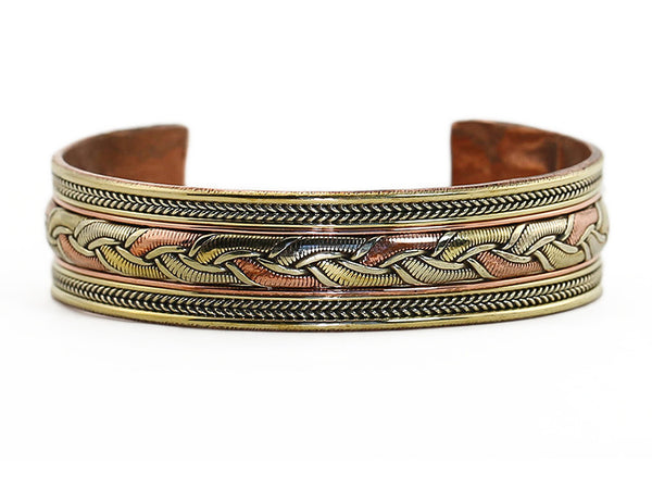 Nepalese Ethnic Cuff Bracelet Woven Copper Close Up