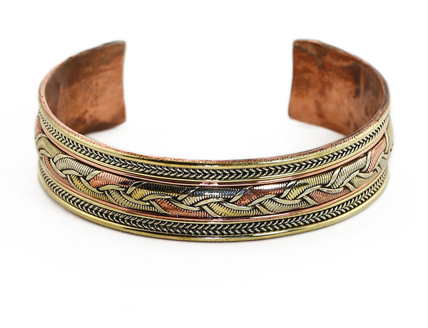 Nepalese Ethnic Cuff Bracelet Woven Copper Top View