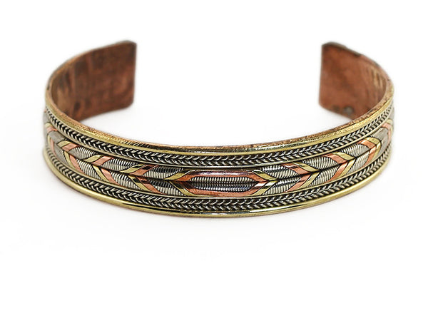 Nepalese Ethnic Cuff Bracelet featuring Silver and Copper Woven Design