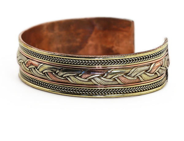 Nepalese Ethnic Cuff Bracelet with Woven Copper