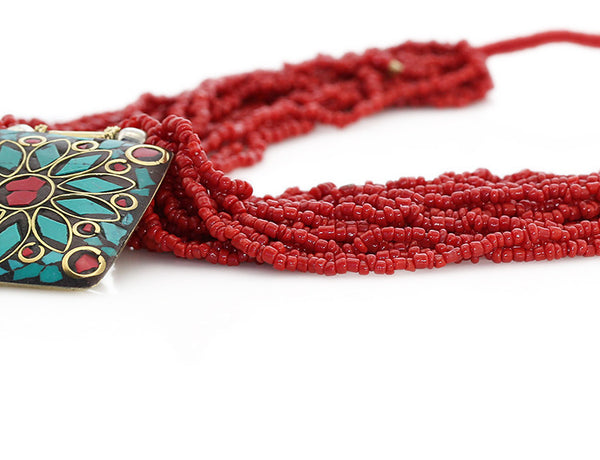 Nepalese Ethnic Necklace with Pote Glass Close Up
