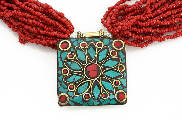 Nepalese Ethnic Necklace with Pote Glass and Inlaid Pendant Close Up