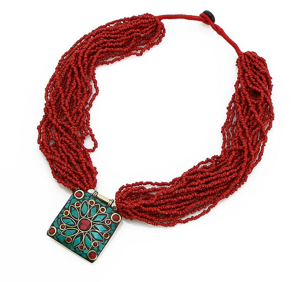 Nepalese Pote Neckace with Red Glass and Inlaid Pendant