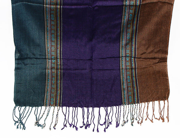 Nepalese Scarf Teal Purple and Brown Fringe
