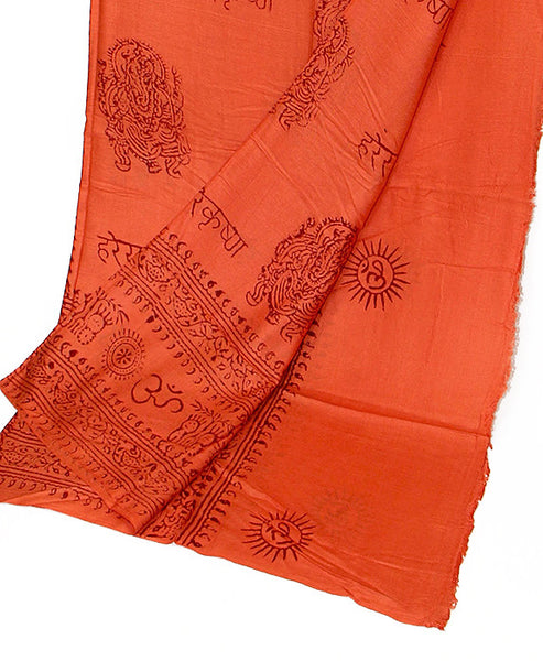 Orange Cotton Yoga Wrap Bottom Section Folded