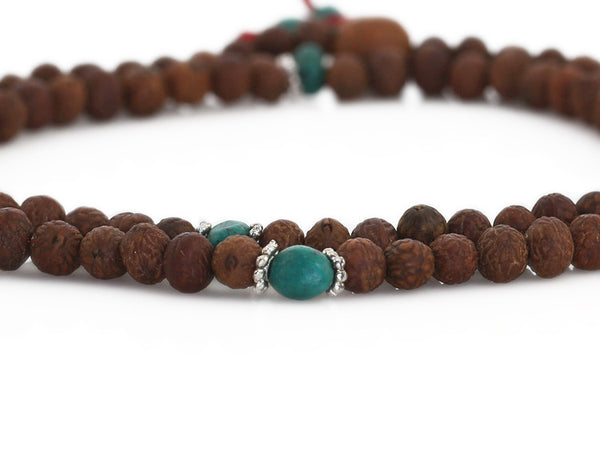 Raktu Seed Mala Beads with Turquoise Markers
