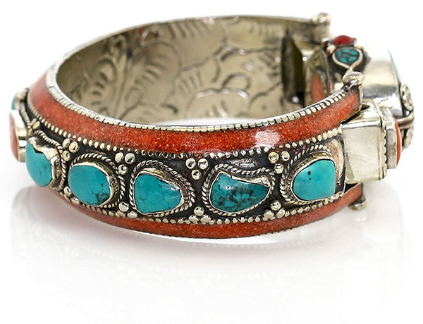Silver Tibetan Bangle Bracelet with Chunky Turquoise Side View