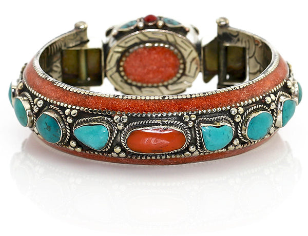 Silver Tibetan Bangle Bracelet with Chunky Turquoise and Coral