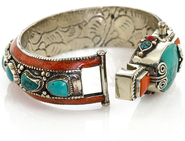 Silver Tibetan Bangle Bracelet with Turquoise Clasp Open