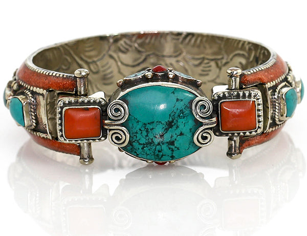 Silver Tibetan Bangle Bracelet with Turquoise Clasp