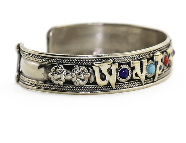 Silver Tibetan Buddhist Cuff Bracelet Mantra Right Side