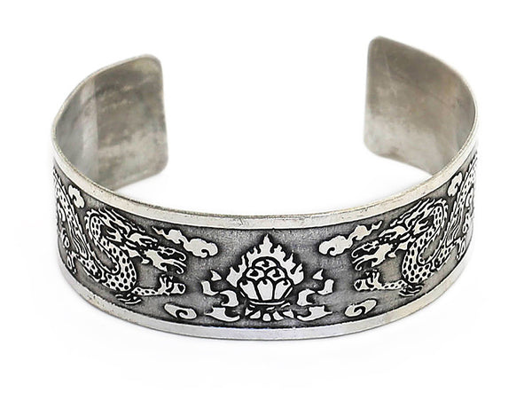 Silver Tibetan Cuff Bracelet Dragon and Flaming Jewel Top View
