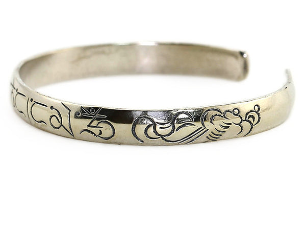 Silver Tibetan Cuff Bracelet Engraved Buddhist Mantra Side View