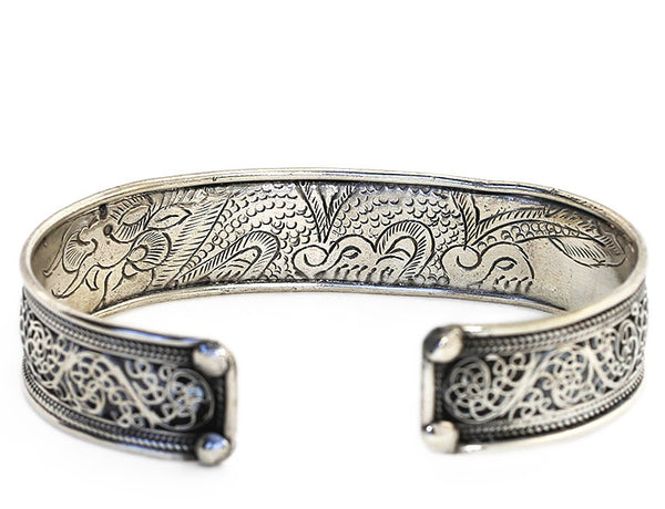 Silver Tibetan Cuff Bracelet Engraved Dragon Close Up