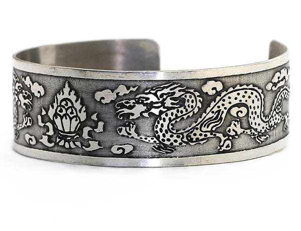 Silver Tibetan Cuff Bracelet Flaming Jewel and Dragon Close Up