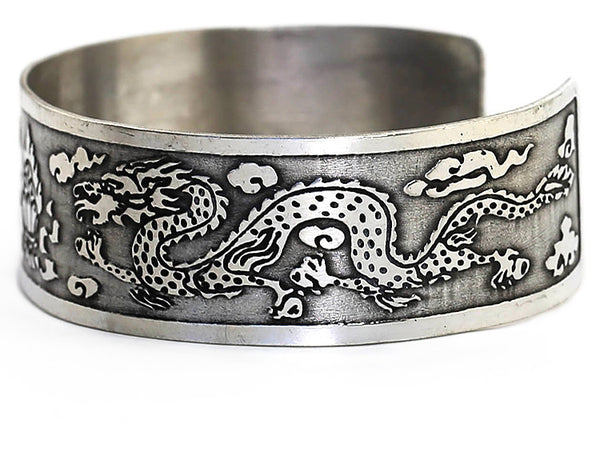 Silver Tibetan Cuff Bracelet Flaming Jewel and Dragon Side View