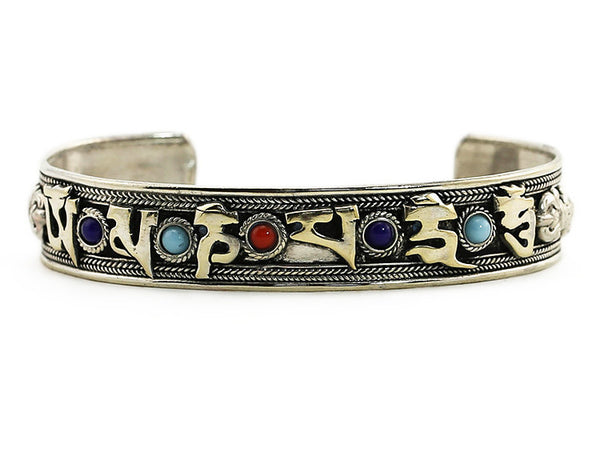 Silver Tibetan Cuff Bracelet Jeweled Mantra Close Up