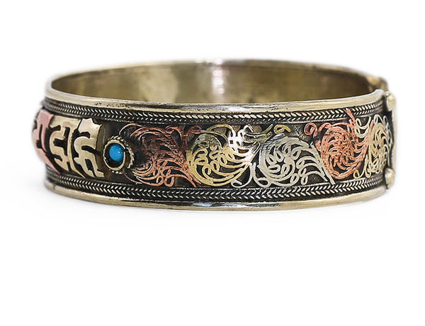 Silver Tibetan Cuff Bracelet Mantra and Scrollwork Side View