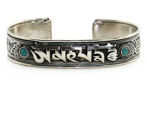 Silver Tibetan Cuff Bracelet with Buddhist Mantra and Scroll Work