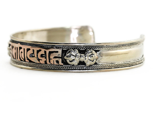 Silver Tibetan Cuff Bracelet with Copper Manttra Side View