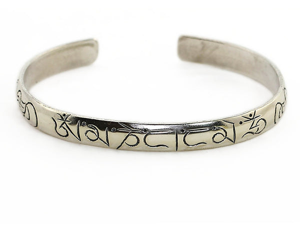 Silver Tibetan Cuff Bracelet with Engraved Buddhist Mantra Top View