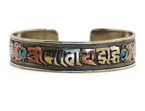 Silver Tibetan Cuff Bracelet with Scroll Work and Mantra