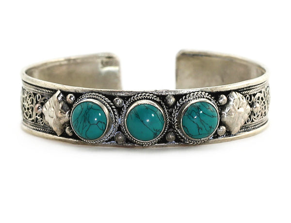Silver Tibetan Cuff Bracelet with Turquoise Close Up