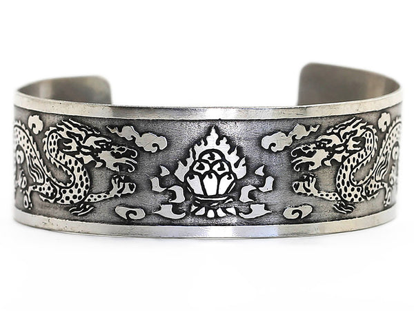 Silver Tibetan Cuff Bracelet with Dragon and Flaming Jewel Design