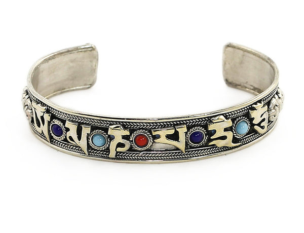 Silver Tibetan Mantra Cuff Bracelet with Gemstones