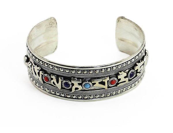 Silver Tibetan Mantra Jeweled Cuff Bracelet Top View