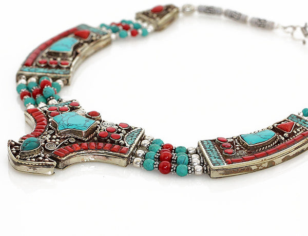 Silver Tibetan Necklace with Gemstone Inlaid Pendant Side View